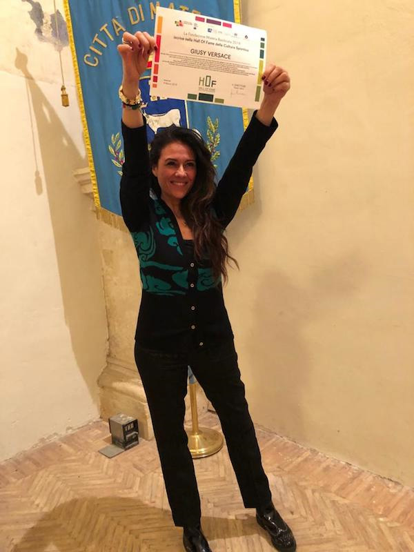 """Giusy Versace entra nella """"Hall of fame della Cultura Sportiva"""" di Matera"""