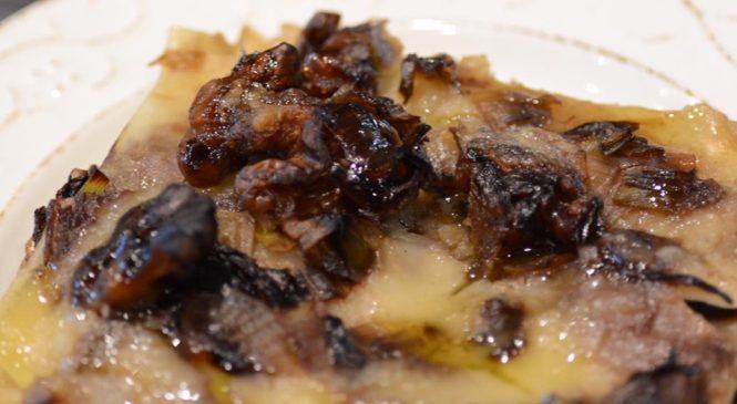Lasagnette alle noci con crema di porri e trevigiana