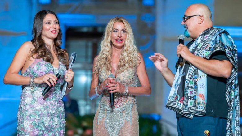 Valeria Marini, Giovanni Ciacci e Vladimir Luxuria alla sfilata di alta moda